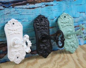 Cast Iron Decorative Skeleton Key Hooks Lot of 3 Black / White / Jade