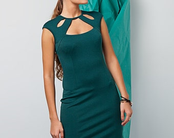 Emerald little dress / Elegant green dress / Party dress for women Jersey / Casual dress / Box dress / Sleeveless dress