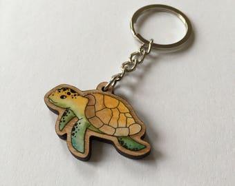 Key ring of cherry-wood turtle
