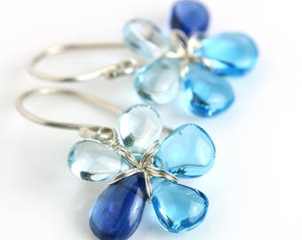 Blue Topaz Earrings, Flowers in Kyanite, Swiss Blue Topaz and Sky Blue Topaz. gift for her.