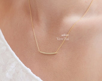 Thin Simple Brushed Gold Curved Slim Bar Necklace