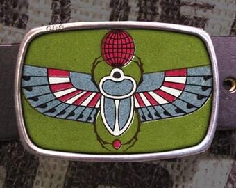 Egyptian Scarab Beetle Vintage Print Belt Buckle 781 Groomsmen Wedding