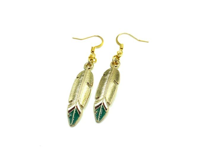 LIZA: gold tone feather drop earrings