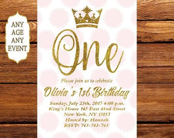 Pink and Gold Invitation, Gold glitter & pink polka dots birthday invitation,First Birthday Invitation, Gold Crown 083