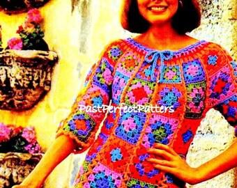INSTANT DOWNLOAD PDF Vintage Crochet Pattern Rainbow Granny Square Patchwork Tunic Blouse  1970s