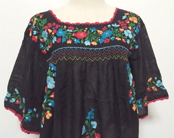 Handmade Embroidered Blouse Mexican Style Cotton Top In Black, Boho Blouse, Hippie Top