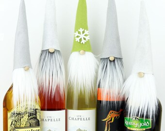 FIVE Wine Bottle Toppers, VIKTOR Nordic Gnome, Wine Gifts, Wine Gifts, Gnome Toppers, Santa, Gnomes, Wine Cozy, Liquor Gifts, Party Favors