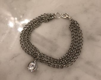 Stainless Steel Bracelet with Cubic Zirconia pendant