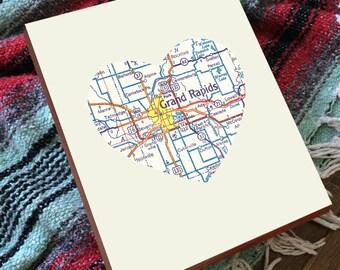 Grand Rapids Mi - Grand Rapids Map - Grand Rapids Michigan Art - Grand Rapids Art - Michigan Wall Art - Michigan Map