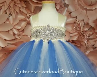 Cobalt Blue and Ivory Flower Girl Tutu Dress-Cobalt Blue and Ivory Wedding Bride Dress-Cobalt Blue and Ivory Tutu Dress-Cobalt Blue Tutu