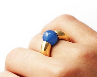 Blue Agate ring, Silver ring gemstone, simple ring, round stone ring, gold plated silver,minimalist ring,unique ring,  green gemstone ring