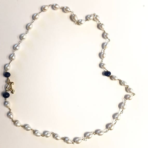 """Pearl Necklace, Baroque Pearl Necklace with Sapphire Beads, Double Wrap, 22K Gold Plated Toggle Clasp, 34"""" Long"""