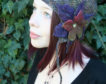 Pixie Style Wool Ear Flap Hat Mulit-Color with Felted Flower- Green, Burgundy, Purple