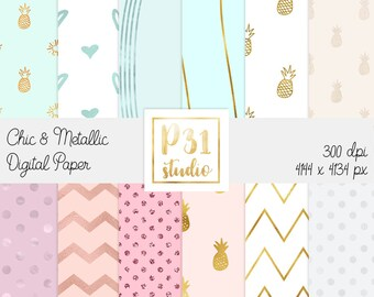 Digital Papers Kit // 12 pack Chic & Metallic digital papers // Digital Goodies // Scrapbook background // Digital download