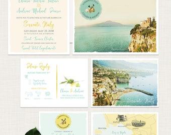 Sorrento Amalfi Destination Wedding Invitation Sorrento Amalfi Coast Italy Wedding Invitation RSVP lemon bilingual Illustrated invitation