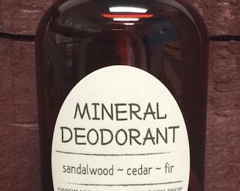 Sandalwood, Cedar & Fir Mineral Deodorant Handmade Magnesium Spray 4 oz Bottle