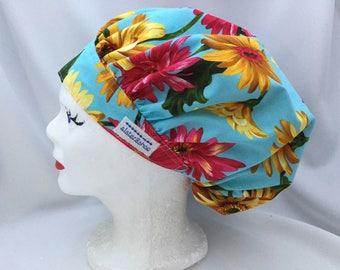 Scrub Hat Bouffant Style Designer Michael Miller's Gerbera Garden Floral on Blue