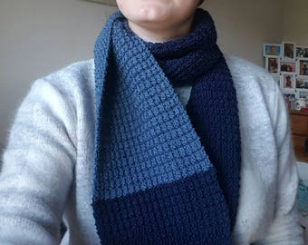 Handmade Textured Knit Scarf - Navy and Denim coloured, Mens and Womens