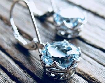 Aquamarine Dangle Earrings in 14K White Gold in Custom Made Baskets with Scrolls