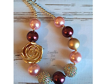 Pink Rose Plum and Gold Fall Bubblegum Necklace Rhinestone Adjustable Chunky Baby Toddler Girls