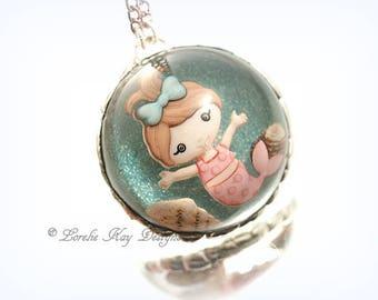 Baby Mermaid Necklace Resin Dome Cast Resin Soldered Beach Ocean Theme Pendant Lorelie Kay Original