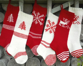 """Knit Christmas Stockings 21-22"""" Personalized Hand knit Wool Nordic style White Cranberry Red Deer Tree Snowflake ornaments"""