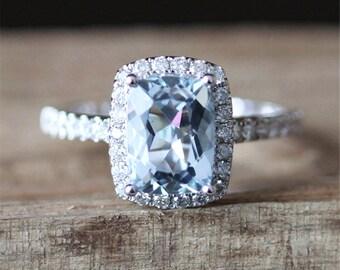 Aquamarine Engagement Ring VS 6*8mm Cushion Cut Aquamarine Ring Vintage Gemstone Ring Stackable March's Birthstone Ring 14K White Gold Ring