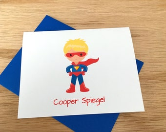 Super Hero Stationery - Personalized Blonde Boy Superhero Cards -Boys Note Cards - Thank You - Custom Super Hero Cape Mask DM600