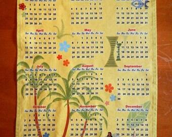 SALE - 2018 Calendar Mid Century Modern Hawaiian Linen Cotton Kitchen Towel or Wall Hanging