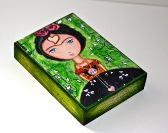 Frida Thinking of Love in green - ACEO Giclee print mounted on Wood (2.5 x 3.5 inches) Folk Art  by FLOR LARIOS