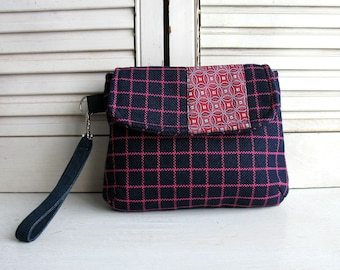 Handbag blue and pink with removable strap