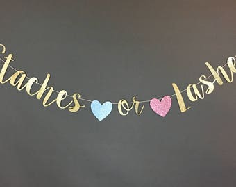 staches or lashes banner, staches or lashes gender reveal, staches or lashes, staches or lashes decor, gender reveal decorations