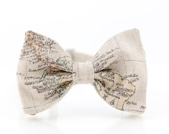 Map Bow Tie For Men Traveler Gift Womens Bow Tie Linen Bow Tie Mens Bow Tie Pre Tied Beige Bow Tie Globetrotter Gift for Men Christmas Gift