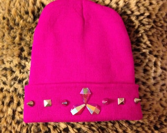 TOXIC: Beanie with pink rhinestones, silver studs, and spikes