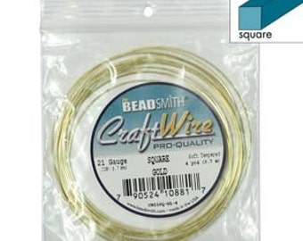 Square 21 gauge Non-Tarnish Gold Color Wire 4yd 41590 , Jewelry Wire, Craft Wire, Square Wire, Beadsmith Wire, Wire Wrapping, 21ga Wire