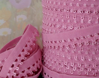 "5yd Pink Elastic Picot 1/2"" inch Stretch Skinny Elastic Bra Trim Headband Sewing lingerie Single sided Edging Elastic"