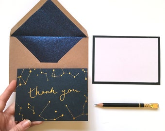 Constellation Thank You Cards, Astrology thank you notes, Wedding thank you's, Gold Metallic Gratitude cards, Star Sign Appreciation Notes