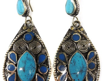 Earrings Silver Turquoise Insets Afghanistan 112073