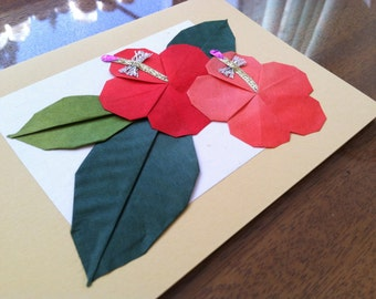 Handmade Origami Hibiscus Flower Greeting Card