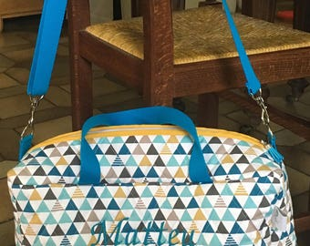 Mustard and teal personalized quilted fabric diaper bag