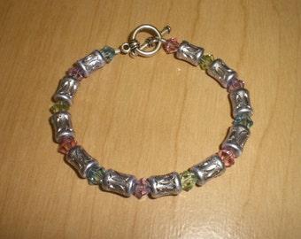 Pastel Swarovski Crystals Lavender Diamond Cut Barrel Bracelet