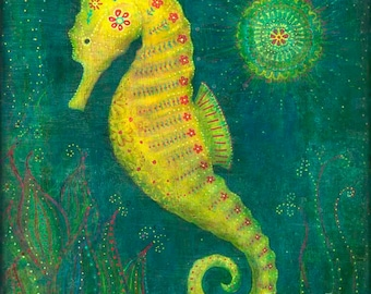 "Seahorse Wall Decor--8X8 or 10X10 Archival Print of Original Mixed Media Painting--""Seahorse""--Pam Kapchinske"