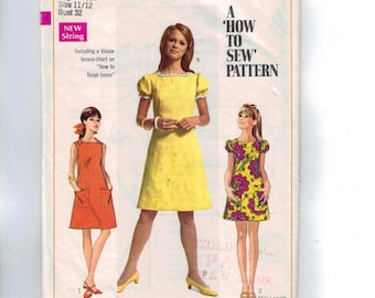 1960s Vintage Sewing Pattern Simplicity 7460 Juniors Mini Dress Puff Sleeves Size 11 12 Bust 32 1967 60s