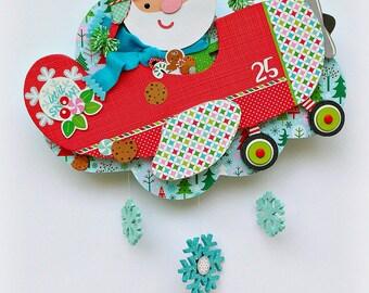 Let it Snow, Santa in Plane, Christmas Wall Hanging, Doodlebug Santa, Christmas Wall Decor