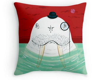 Sir Wilfred Wallace The Wonderful Walrus - Children's Decor - cushion cover / throw pillow cover - by Oliver Lake iOTA iLLUSTRATiON