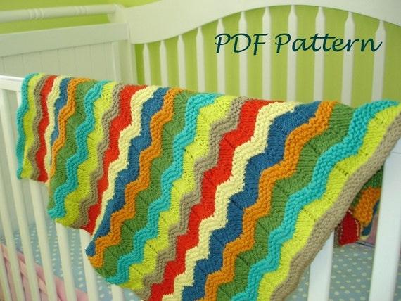 Baby Blanket Knitting Pattern Wavy Baby Blanket Pdf Knitting