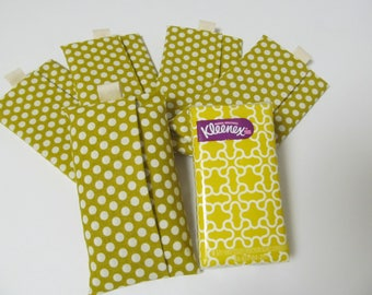 Set Of 5 Tissue cases/Dots On olive