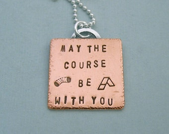 Dog Agility Necklace - Hand Stamped Copper and Sterling Silver Chain - May the course be with you - Canine Agility Jewelry