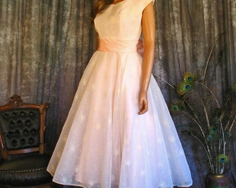 Vintage 50s Floral Flocked Chiffon Gown / 50s Fit and Flare Prom Dress / Pink Back Bow