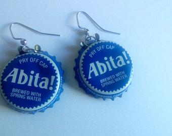 Blue Abita! Bottle Cap Earrings